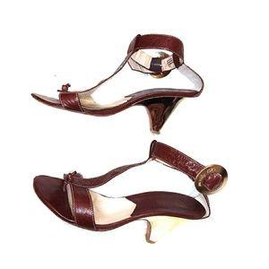 Vintage Michael Kors T-Strap Brown Leather Heel